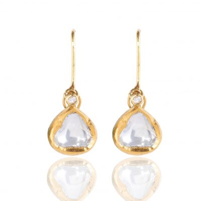 Heirloom Classic Raw Sliced Diamond Drop Earrings