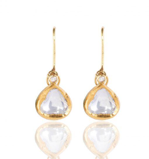 Heirloom Classic Raw Sliced Diamond Drop Earrings
