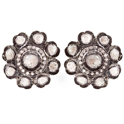 Victorian White Sapphire flower stud earrings