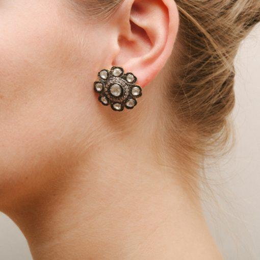 Victorian White Sapphire flower stud earrings Kastur Jewels