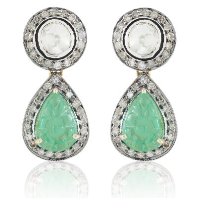 Natural Diamond and Carved Emerald Classic Drop Earrings
