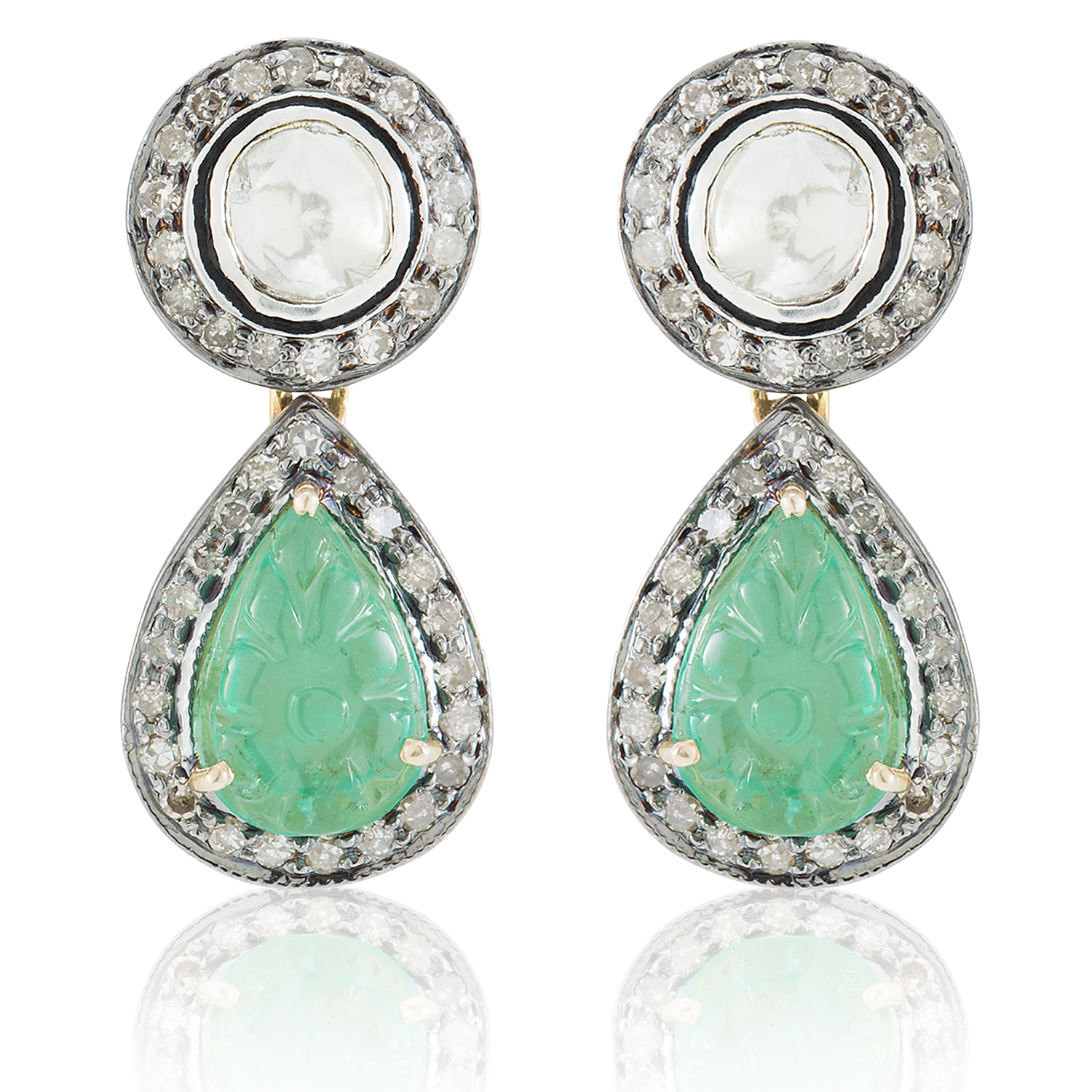 platinum natural diamonds stud emerald cut modern step emeralds earrings product in square