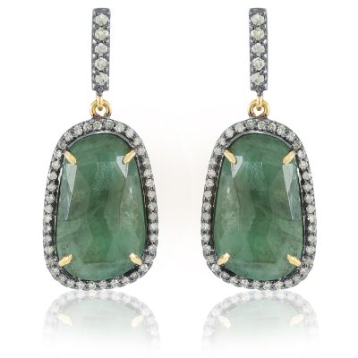 Simple Emerald and Diamond Drop Earrings