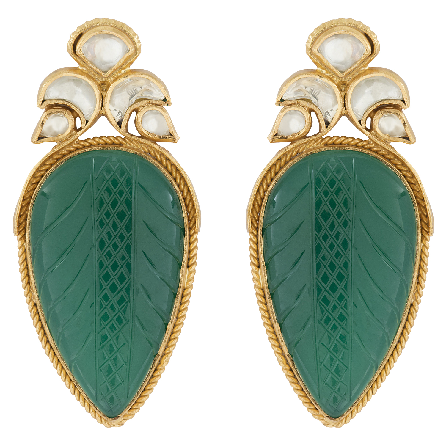 Heritage Carved Green Onyx and Crystal Earrings