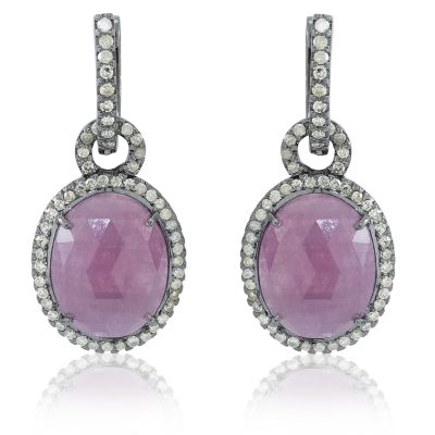Ruby and Diamond Loop Earrings