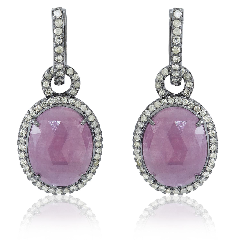 Ruby and Diamond Loop Earrings