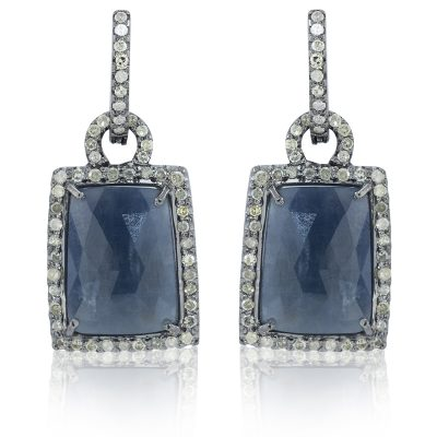 Sapphire and Diamond Loop Earrings