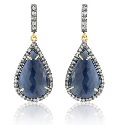 Sapphire and Diamond Drop Earrings-0