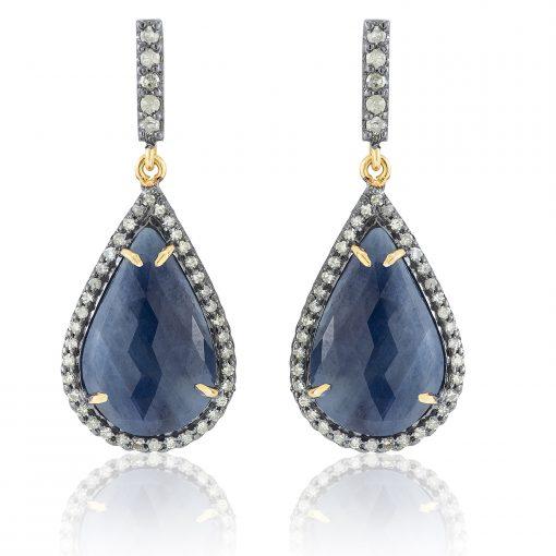 Sapphire and Diamond Drop Earrings-0