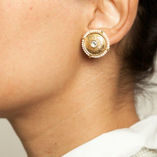 Simple Heritage Pearl and Crystal Earrings