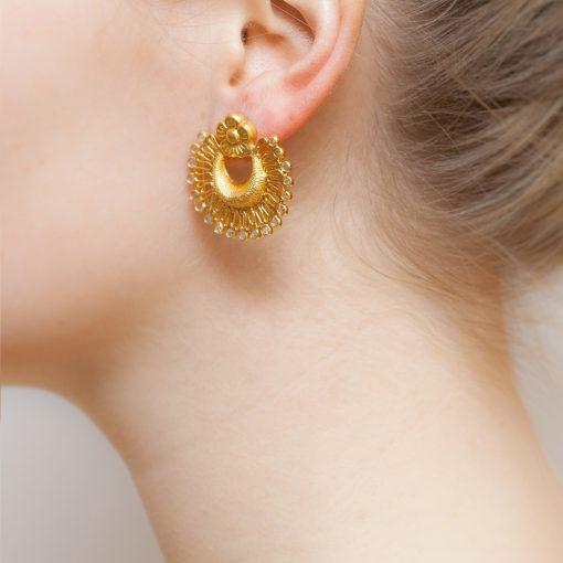 Classic Half Moon Crystal Earrings