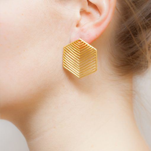 Art Deco Hexagon Grid Earrings