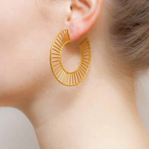 Art Deco Grid Loop Earrings