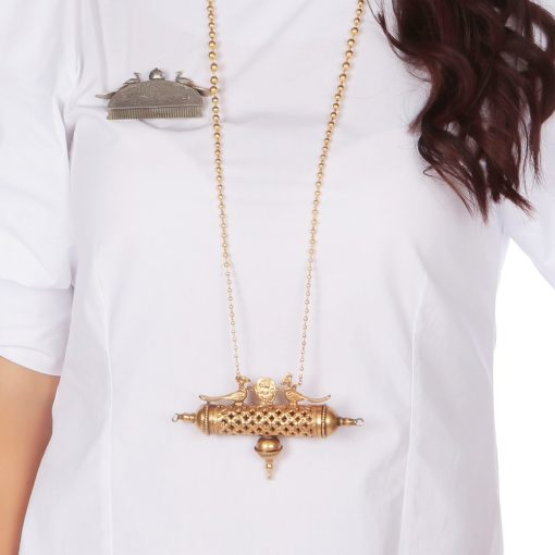 Antique Finish Long Peacock and Najar Pendant Necklace
