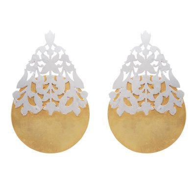 Filigree Mix Silver Gold Earrings