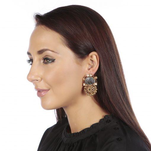 Sun God Carved Blue Lapis Earrings