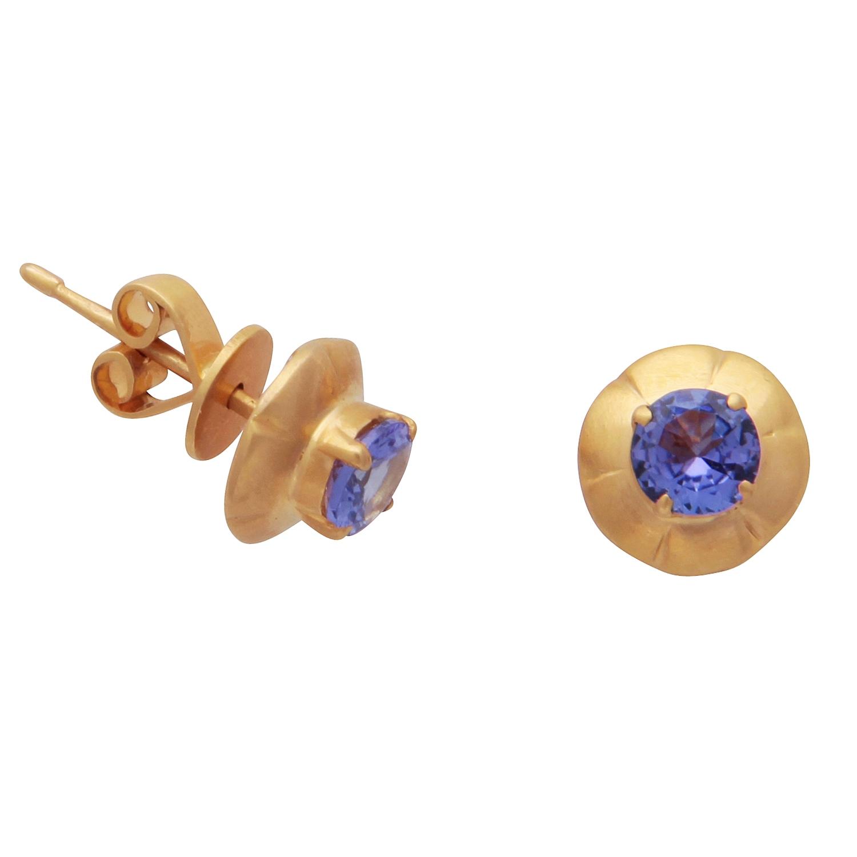 Classic Tanzanite Stud Earrings-0