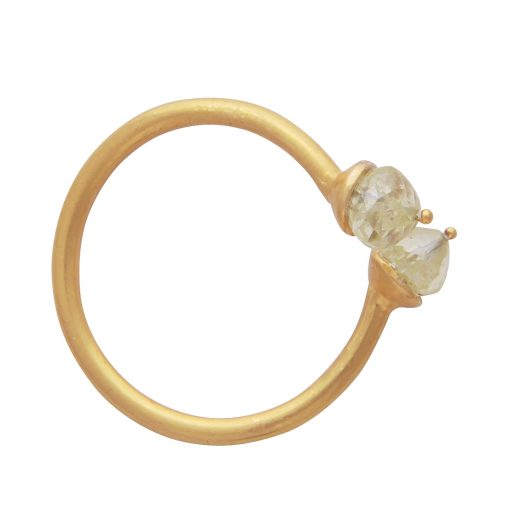 Simple Yellow Diamond Adjustable Ring