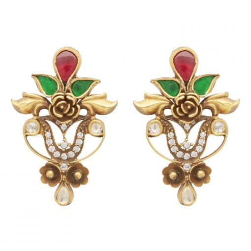 Ornate Glass and Crystal Earrings-0