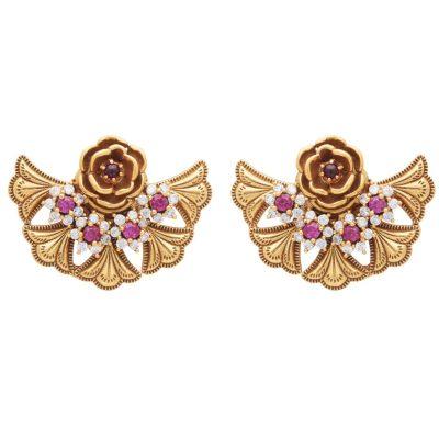 Half Moon Flower Earrings-0