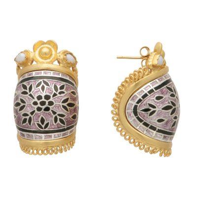 Enamel Basket Earrings-0
