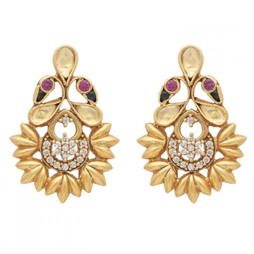 Swan Coloured Crystal Antique Earrings-0