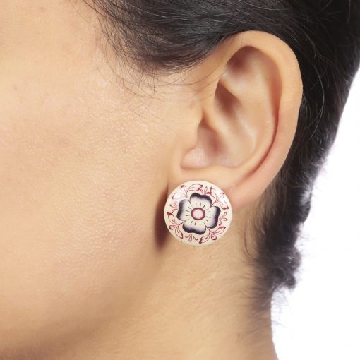 Art Deco Enamel Stud Earrings-840