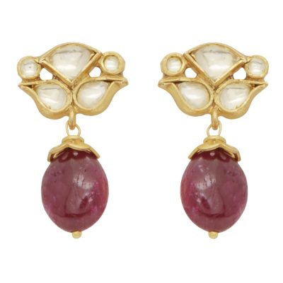 Antique Crystal and Ruby Drop Earrings