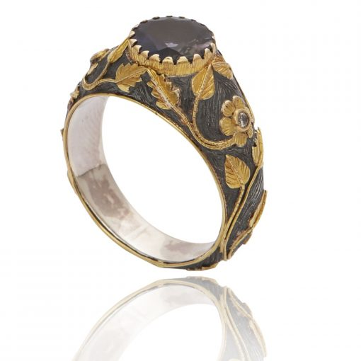 Heirloom Iolite & Diamond – Mix Silver and 18kt Gold Ring