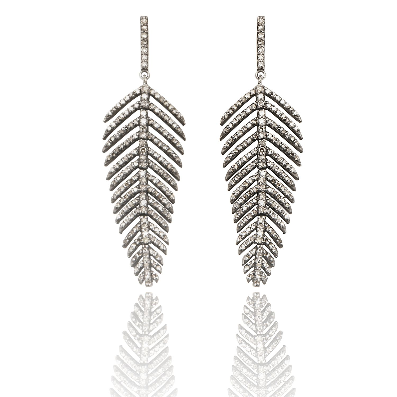 Fluid Diamond Leaf Earrings